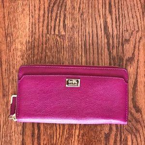 Coach leather zip-around accordion wallet. NWOT